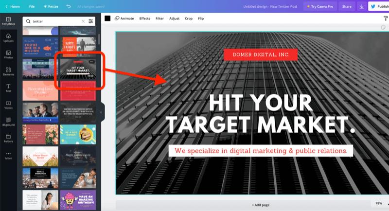 ejemplo de captura de pantalla de una herramienta de diseño gráfico con una plantilla seleccionada e identificada para una nueva publicación de Twitter