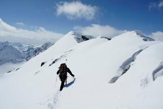Photo: The heavily corniced ridge.
