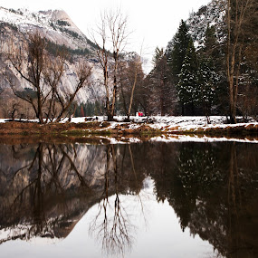 Reflection...???  by Surentharan Murthi - Landscapes Waterscapes ( water, national park, reflection, mountain, winter, snow man, yosemite, snow, children, lake, kids )