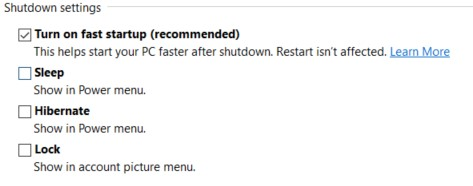 Shutdown Settings section with checkboxes