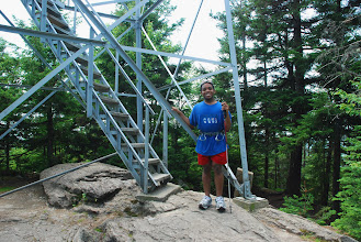 Photo: Ready to go up the fire tower, Elmore State Park by Linda Carlsen-Sperry.