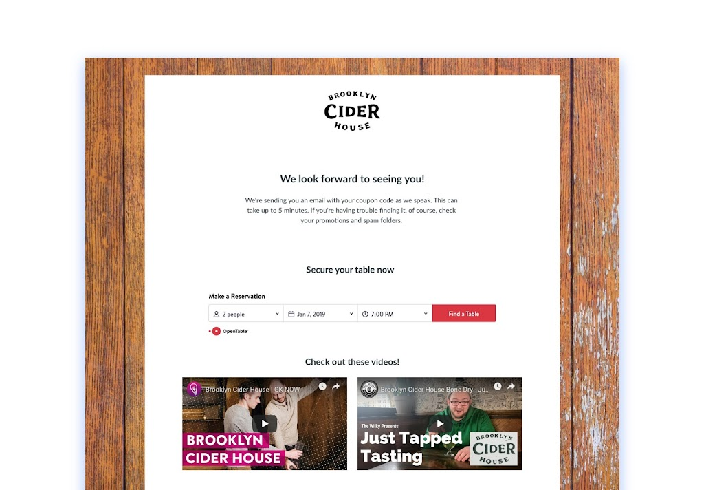 Brooklyn Cider House thank you page example