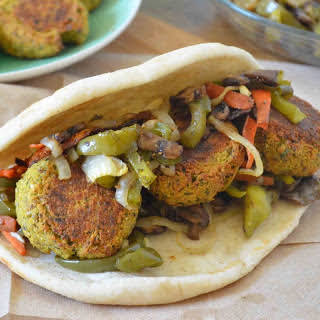 Pita Sandwich with Cauliflower Falafel and Roasted Vegetables.