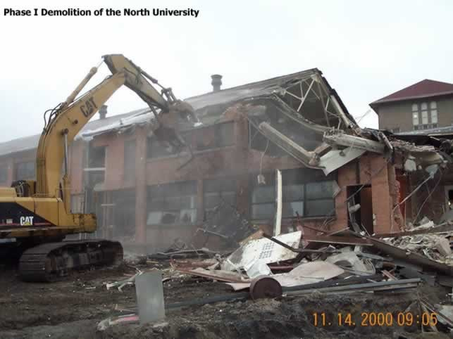 Photo: Demolition of the North University Building, November 2000, University of Michigan Central Campus, Ann Arbor, Michigan USA