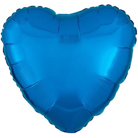 Folieballong, hjärta metallic blå 43 cm