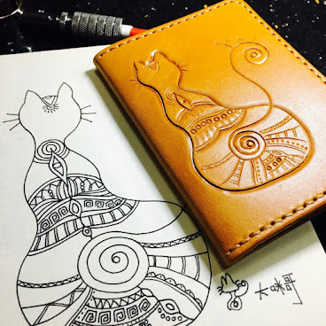 leather cat card case