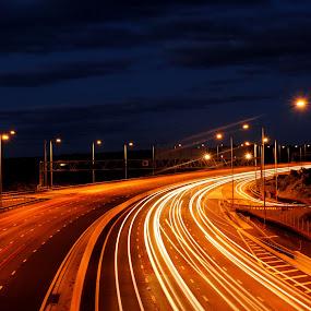 by Jade Newman - City,  Street & Park  Vistas ( highway, cars, light trails, motorway )