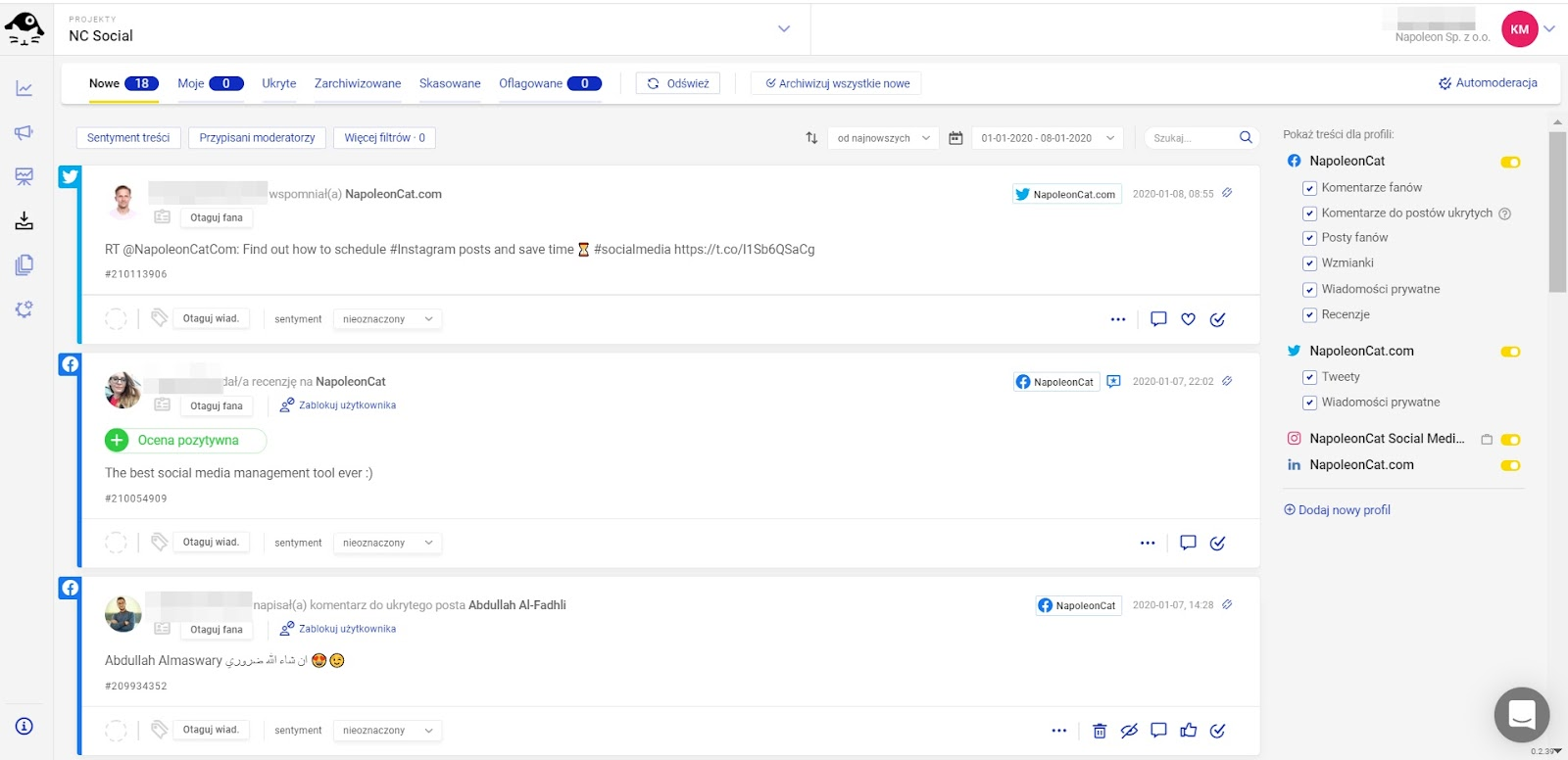 NapoleonCat social inbox