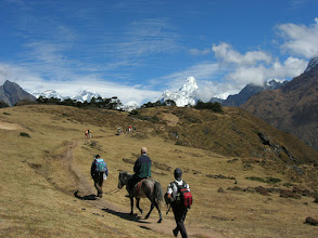 Photo: On our first acclimatisation day, we hiked up the hill beyond Namche and had our first glimpse of Ama Dablam