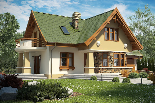 projekt Sójka II z garażem 1-st. A