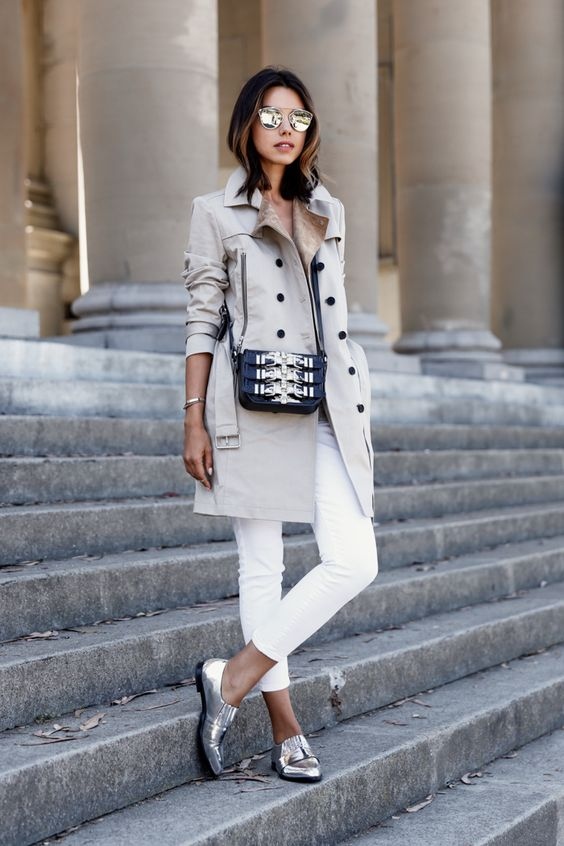 Dramatic outfit with neutral trench coat, white jeans and silver loafers for Cool Winter women
