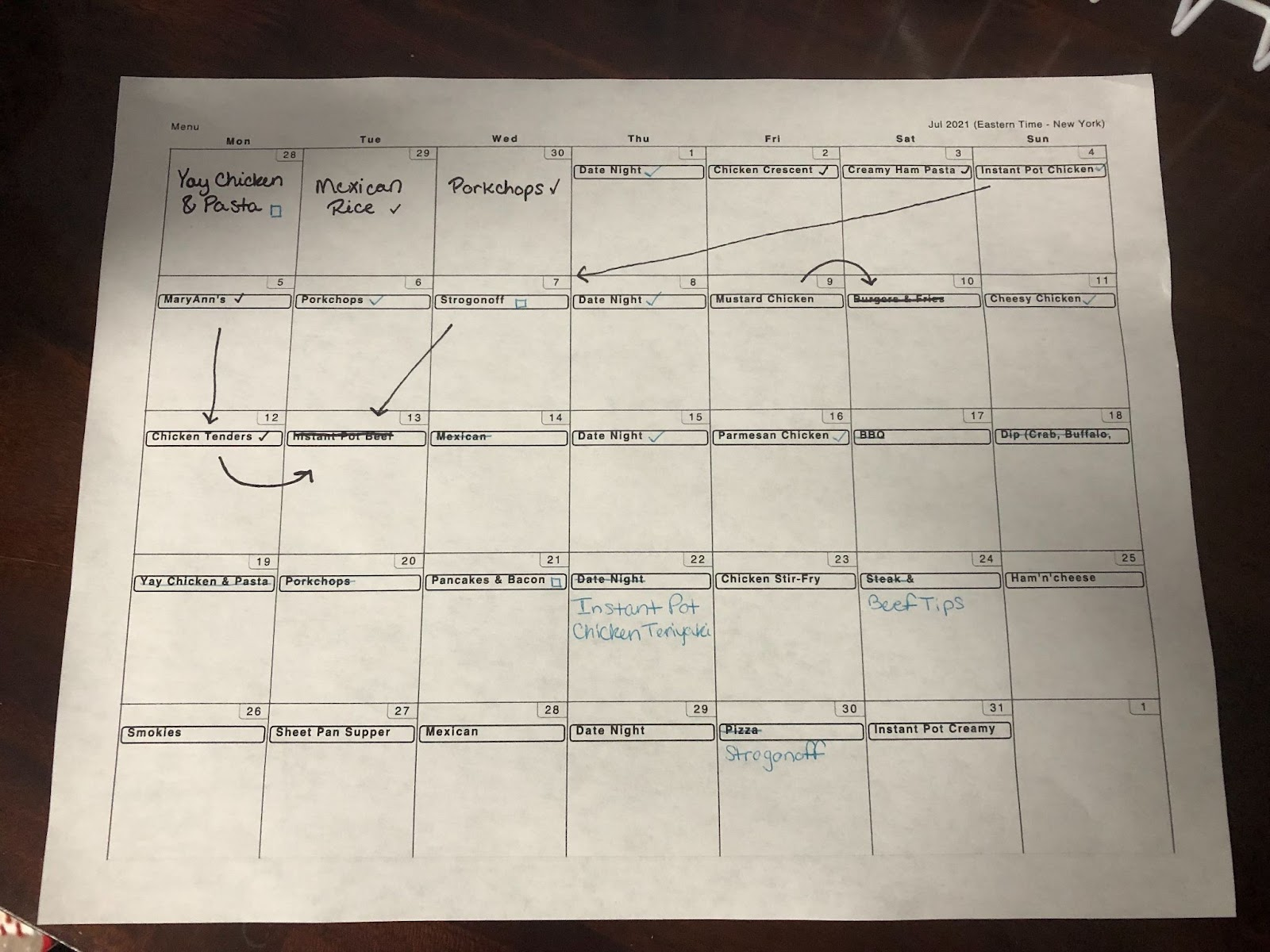 printed meal planning schedule