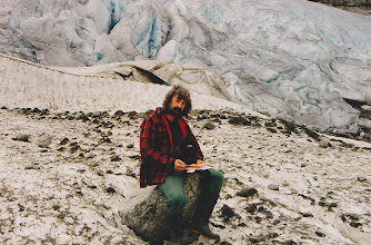 Photo: Opening my birthday cards on a glacier