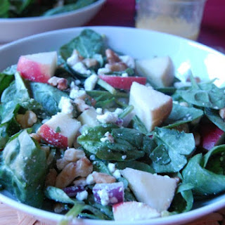 Spinach Salad with Apples, Walnuts and Goat Cheese.