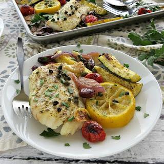 Mediterranean Cod Sheet Pan Dinner.