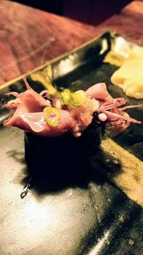 Fukami 19 course dinner of small plates and sushi: Hotaruika, firefly squid from Toyama
