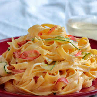 Creamy Fettuccine with Vegetable Ribbons