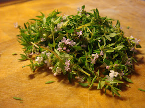 Photo: Fresh thyme, stripped from the stalks