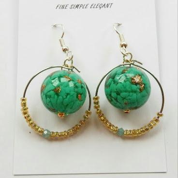 綠琉璃玻璃珠圈耳環