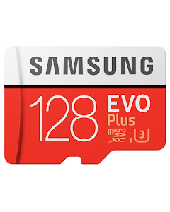Samsung 128GB EVO Plus microSDXC 100 MB/s UHS-I U3 Class 10 Memory Card with SD Adapter