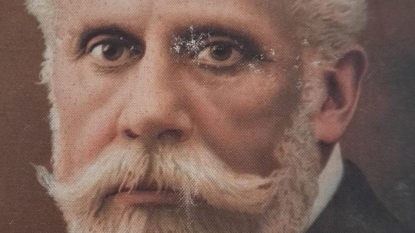 Detalle de la litografía de Pablo Iglesias, fundador del socialismo, que permaneció oculta en una cueva de Huércal de Almería.