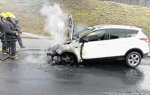 HOT STUFF: A Ford Kuga burst into flames in Durban on December 19 2016. File photo