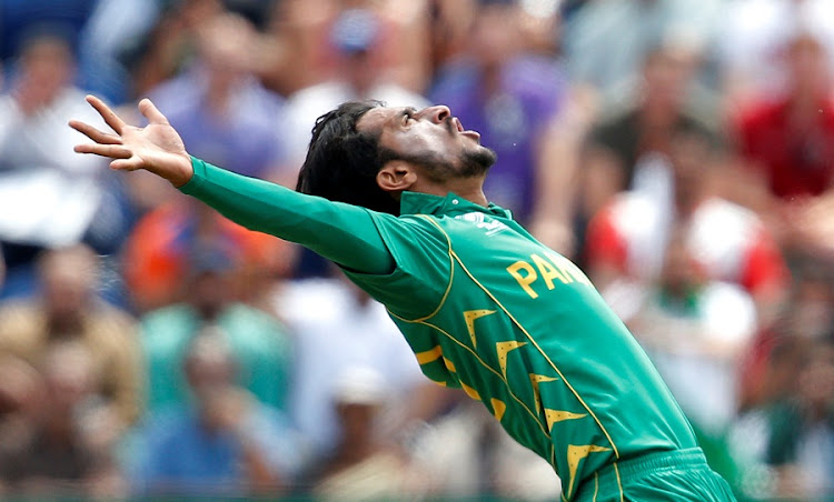 Pakistan's Hasan Ali celebrates after taking the wicket of England's Eoin Morgan at the 2017 ICC Champions Trophy semi-final on Wednesday. Picture: REUTERS/ANDREW COULDRIDGE