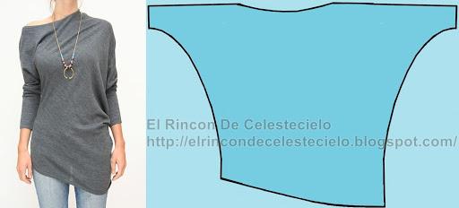 Trazo patrón de blusón hombro caído, manga dolmán, largo asimétrico