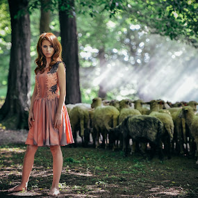 girl and sheep by Cristi Vescan - People Portraits of Women ( girl, sheep, people )