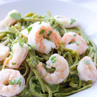 Cilantro Lime Shrimp and Avocado Pasta.