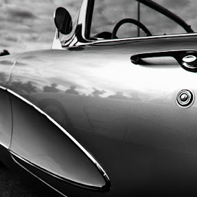 Corvette by Tanya Witzel - Transportation Automobiles ( canon, car, old, corvette, b&w, black and white, vintage, sports car, wheels, transportation, chevy, chevrolet, tires, auto, classic )