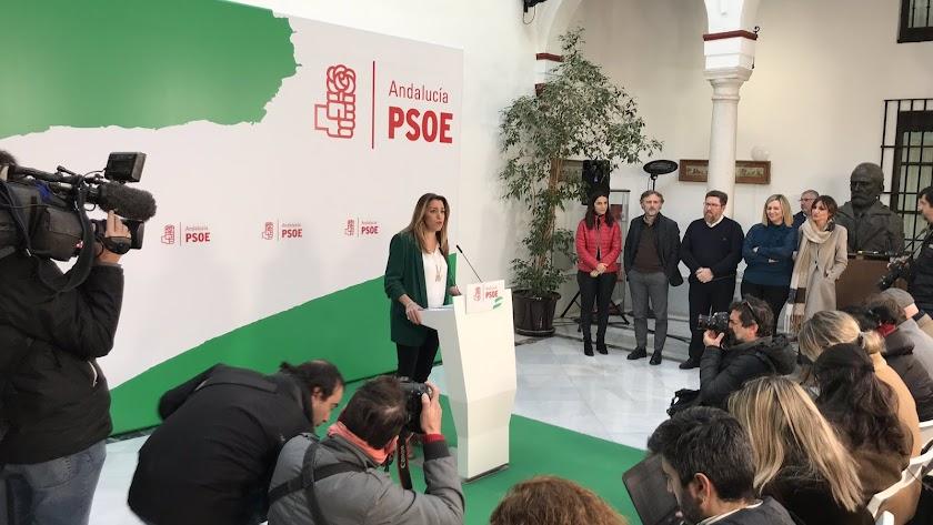Susana Díaz en la rueda de prensa ofrecida este viernes.