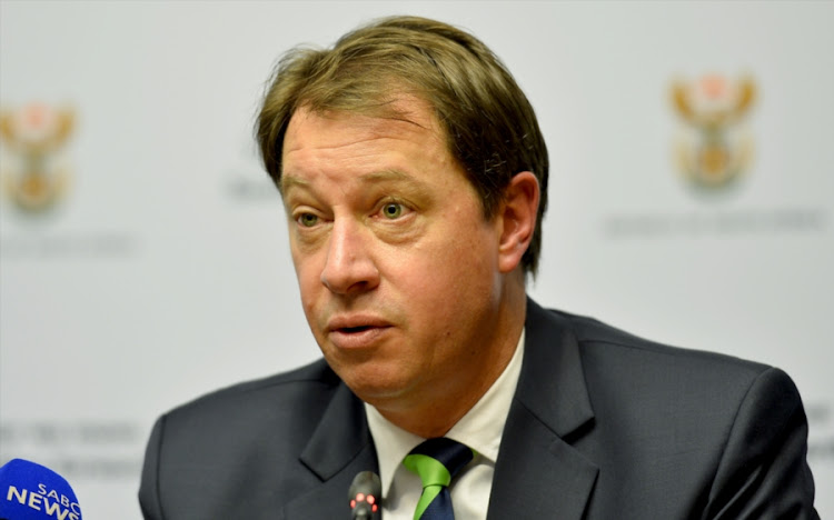 South African Rugby Union chief executive, Jurie Roux during the RWC 2023 Media Conference at Imbizo Media Centre, Parliament on October 31, 2017 in Cape Town, South Africa.