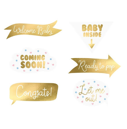 Photoboothskyltar - Babyshower, guld
