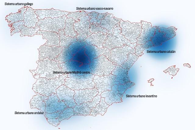Mapa de calor de la densidad de los sistemas urbanos españoles.