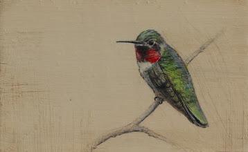 """Photo: """"Hummingbird II"""" ©2011 LMcNee 4x6 mixed media on board"""