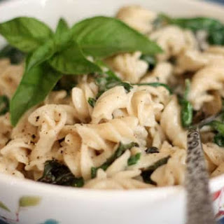 Creamy Parmesan Pasta with Basil and Spinach.