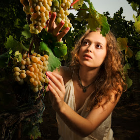 Portrait of a girl by Andrija Vrcan - People Portraits of Women ( vineyard, girl, grapes, woman, portrait,  )