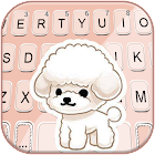 Cute Cartoon Poodle Keyboard Background