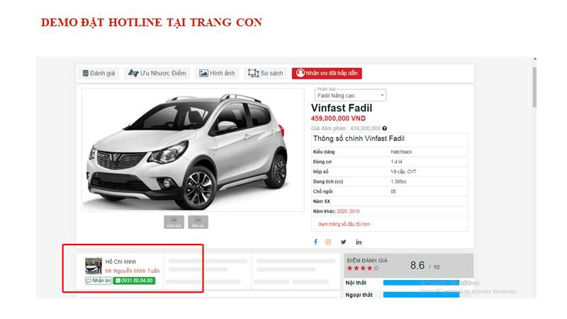 Vị trí hiển thị số hotline trên trang chi tiết các dòng xe