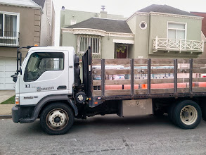 Photo: KZ Tile truck onsite on October 23, 2013 for first day of work to install the 148-step Hidden Garden Steps (16th Avenue, between Kirkham and Lawton streets in San Francisco's Inner Sunset District) ceramic-tile mosaic designed and created by project artists Aileen Barr and Colette Crutcher. For more information about this volunteer-driven community-based project supported by the San Francisco Parks Alliance, the San Francisco Department of Public Works Street Parks Program, and hundreds of individual donors, please visit our website at http://hiddengardensteps.org.