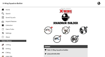 Screenshot of X-Wing Squadron Builder