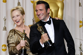 Photo: Best Actors Meryl Streep and Jean Dujardin pose in the photo room at the 84th annual Academy Awards. Photo by Dan MacMedan, USA TODAY.