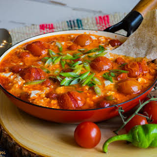 Shakshouka With Cherry Tomatoes And Goat Cheese.