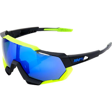 100% SpeedTrap Sunglasses: Polished Black/Neon Yellow Frame with Electric Blue Mirror Lens, Spare Clear L