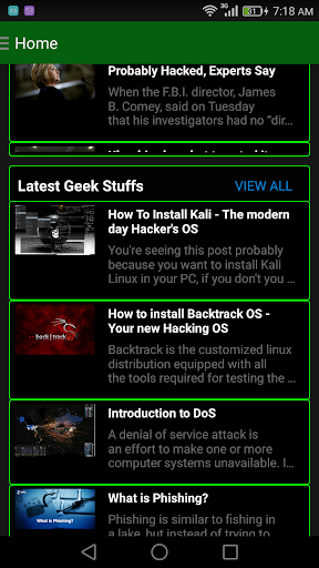 Geek App Hacking Tutorial News Screenshot
