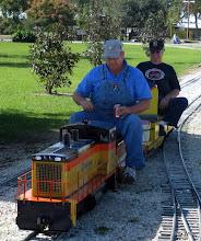 Photo: James Hitzfelder and Richard Osborn on Richard's loco.    SWLS at HALS 2009-1107