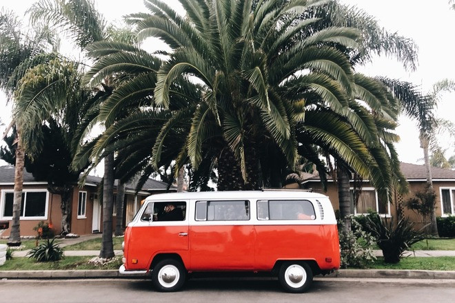 1970 Red VW Bus Hire CA