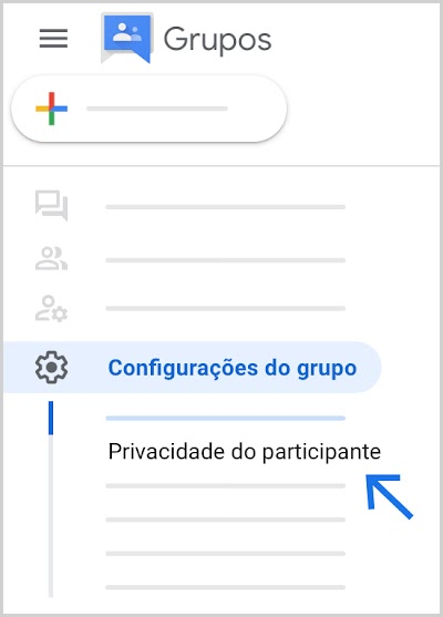 "Localize ""Privacidade do participante"" no canto inferior esquerdo."