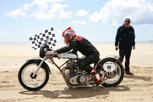 Triumph Hagon at Pendine in 2016, powered by Machines et Moteurs in France.